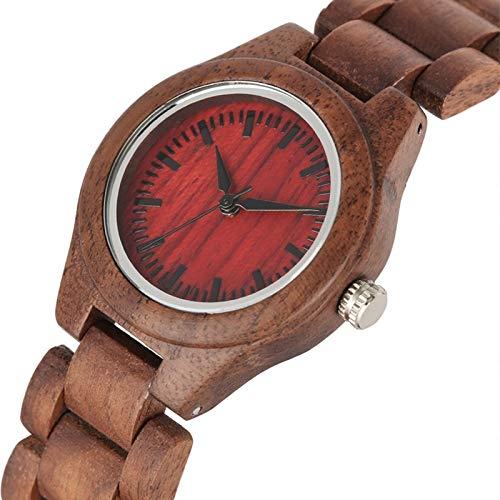 IOMLOP Reloj de madera retro para mujer, reloj de madera, con esfera pequeña, reloj de cuarzo para mujer, reloj de pulsera de madera ambiental, 1