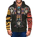 JohnBHaws Guns N' Roses GNR Mans Realistic 3D Digital Print Full Zip Hoodies Sweatshirt 3XL