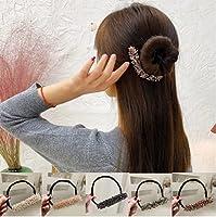 3個のラインストーンイージーバンメーカー、ドーナツバンメーカー、ラインストーンヘアバンドアクセサリー、イージーヘアスタイルツール女性の女の子のためのDIYヘアスタイリングツール (5個)