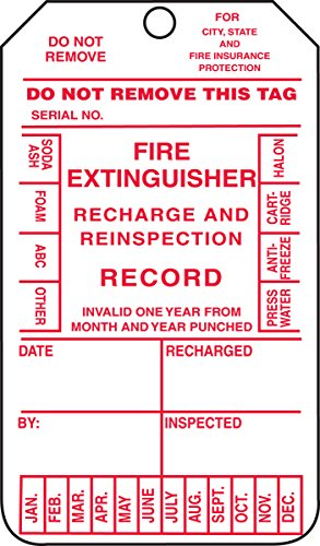 Accuform MGT210CTM PF-Cardstock Fire Extinguisher Tag, Legend