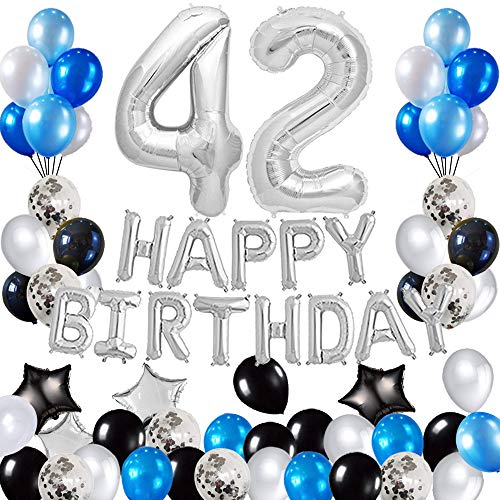 Risehy 42nd Birthday Decorations Birthday Party Supplies Set- Foil Happy Birthday Banner Foil Balloons Number 42 and Star Shape Balloons 43 pcs Latex Balloons Silvery and Blue