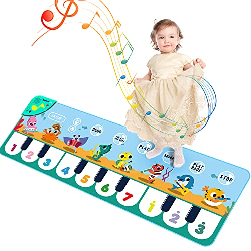 Romker Kids Piano Mat, Musical Toys Mat with 8 Instruments Sounds and 5 Musical Modes for Baby Toddler, Early Educational Toys for Little Girls Boys Birthday Xmas Gifts…