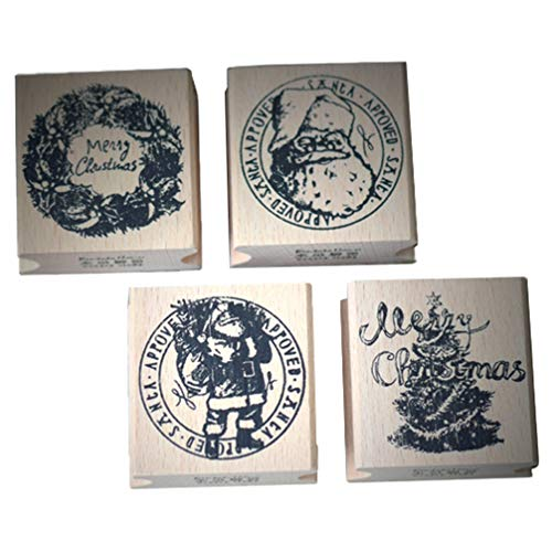 PRETYZOOM 4Pcs Christmas Wooden Rubber Stamps Santa Claus Christmas Garland Christmas Tree Stamps Stamper Seal for Card Making Scrapbooking and Crafts