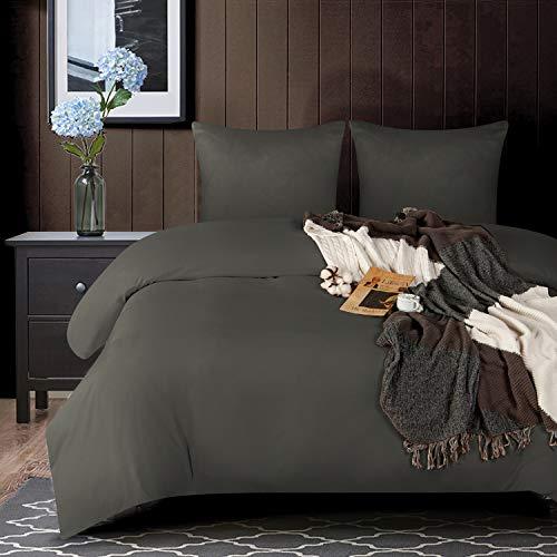 NTBAY - Juego de funda nórdica de microfibra, ultrasuave, juego de cama para 2 personas con cremallera, funda nórdica de 260 x 240 cm con 2 fundas de almohada de 65 x 65 cm, color gris oscuro
