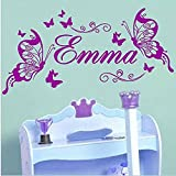 NA Wall Decal Sticker Art Mural Home Dcor Quote Emma Girl Room Decoration Name Butterfly for Kid Room Art Poter for Nurery Kid Room