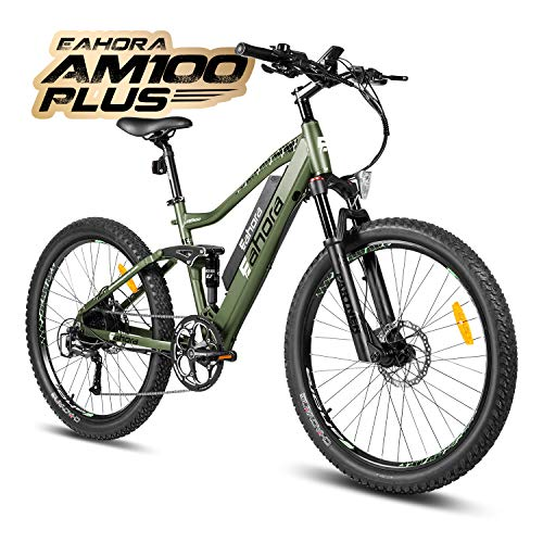 eAhora AM100 Plus 27.5 Inch Electric Mountain Bike Dual Hydraulic Brakes Full Air Suspension Electric Bicycle 48V 350W 10.4Ah Ebike Power Regeneration Tech 9 Speed Color Screen Green