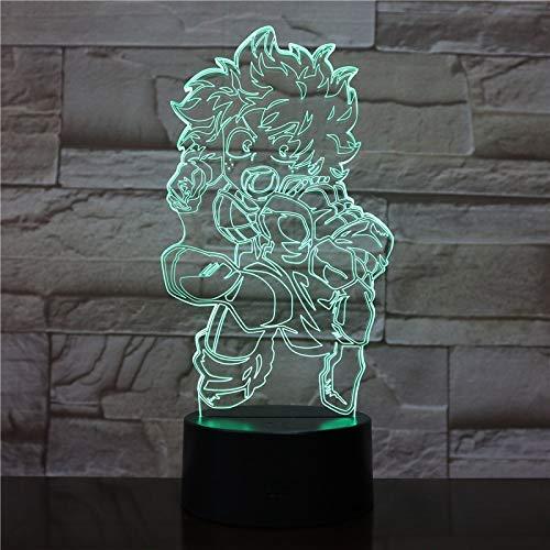 3D Illusion Lampe LED Nachtlicht, Cartoon My Hero Academia Nachtlicht Led Anime Kind Kinder Geschenk Dekor Midoriya Izuku Abbildung - 7 colores