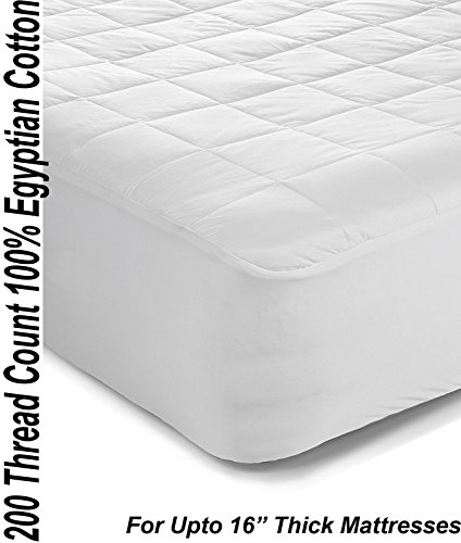 Superior 200TC 100% Egyptian Cotton Quilted Mattress Protector / Pillow Protectors All Sizes (4ft / Small Double) By Papa Jones Ltd