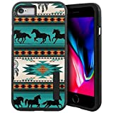 CasesOnDeck Case Compatible with [iPhone 7 | iPhone 8 ][Grip Tactical] iPhone 8 Hybrid Case with Rubberized Grip Exterior Inner Flexible TPU Cover (Horse Tribal)