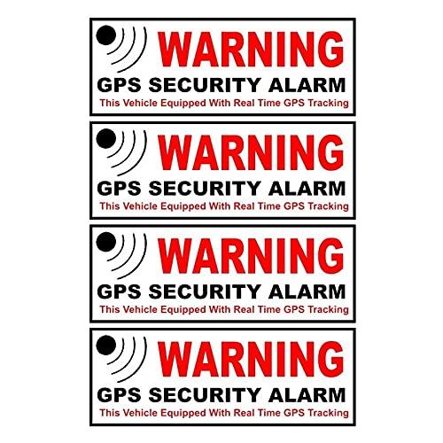 WBXZY Pegatinas de Coche 10,5 CM * 3,8 CM 4X Pegatina de Coche Advertencia GPS Seguridad Alarma Marca de Advertencia Calcomanía Reflectante Piezas de Motocicleta C1-7580