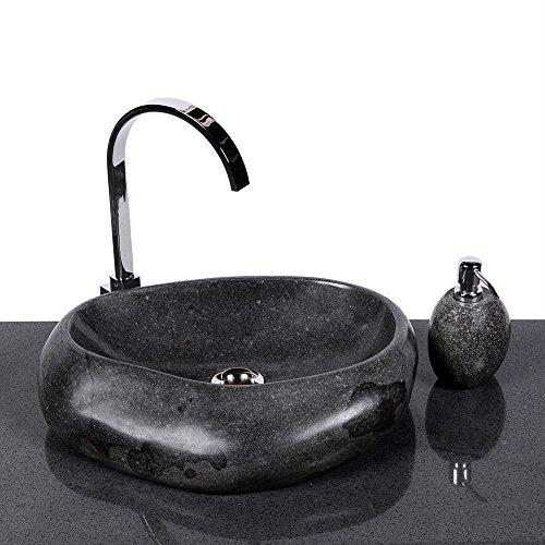 wohnfreuden Naturstein Waschbecken Wave 40 cm aus Stein außen poliert Aufsatzwaschbecken Findling für Waschtisch