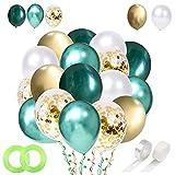 Globos verdes de 30,48 cm, globos de oro blanco y verde, globos verdes metálicos para bautismo, niños, jardín de infancia, cumpleaños, decoración de fiesta de la selva, decoración de safari