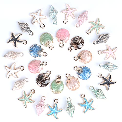 30 Pcs Ocean Charms Pendants for Jewelry Making Enamel Starfish Conch Seashell Enamel Charms for Necklace Bracelet Resin DIY Craft