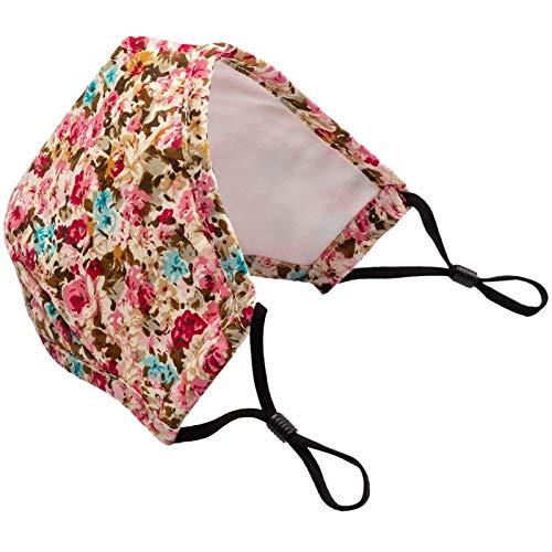 YOYIK Face Covering de Lavables y Reutilizables de moda con estampado floral de flores para adultos