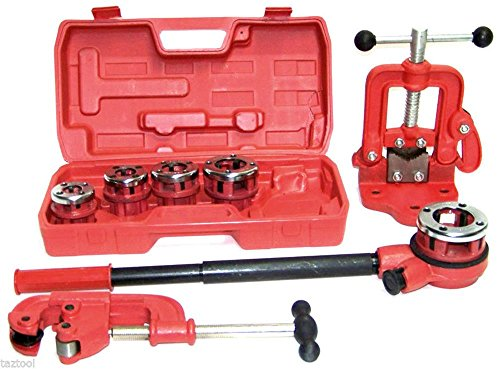 Clamps & Vises Pipe Threader Ratchet Type with 5 dies + Pipe Cutter # 2 + Clamp on Pipe Vise #1