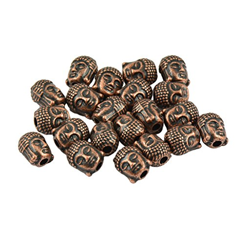 20 Pieces 3D Buddha Spiritual Spacer Beads DIY Making Fashion Small Jewelry for Male Female Charm Ornament Accessories - Bronze