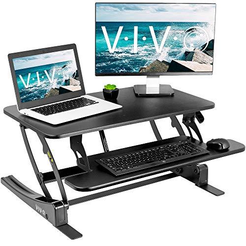 VIVO Black Height Adjustable 32 inch Stand Up Desk Converter, Quick Sit to Stand Tabletop Dual Monitor Riser Workstation, DESK-V000VS