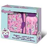Desconocido Pack Cantimplora de Aluminio + Sandwichera de Colección Cupcakes, Unisex Adulto, Multicolor, Talla Única
