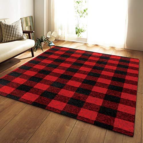 Brmind-RUG 3D ultra-heldere printtechnologie klassieke traditionele tapijt gebied retro ontwerp perfecte woonkamer, eetkamer, slaapkamer vloerbedekking, zwart rood geruit patroon 80in*50in World Map 7
