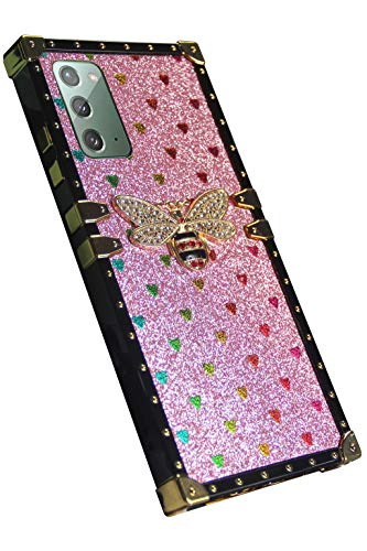 SamsungNote20 5G case square trunk luxury cute bee Compatible with Samsung Galaxy Note20 4g 5G cases bling glitter box Phone cover GalaxyNote20 Note205G 5GNote20 note 20 fundas bumper 6.7 inch (pink)