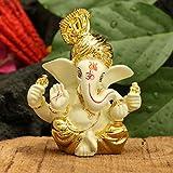 CraftVatika Gold Plated Terracotta Pagdi Ganesha Statue for Car Dashboard God Ganpati Puja Gifts Idols Home Decor (Size 8 x 6 cm)