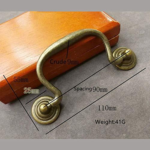 Dice 4PCS11 * 5mm glänzende chinesische antike Griff Schranktür Kleiderschrank Schrank Schublade AmericanBronze Türgriff, Bronze