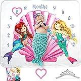 Evovee Baby Monthly Milestone Blanket Girl Mermaid, Baby Month Blanket Age Photo Blanket, Photography Backdrop Newborn Girls Props, Soft Plush Fleece w Marker and Headband New Moms (Mermaid)