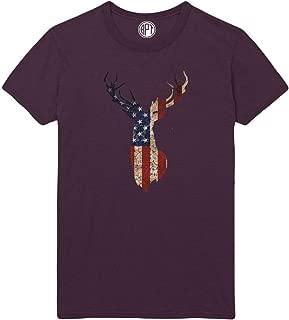 American Flag Deer Head Silhouette Printed T-Shirt