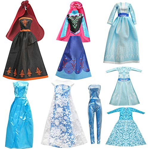 Frozen Barbi Doll Clothes, Frozen Toys for Girls, Queen Snow Princess Dress for 11.5 inch Doll Clothes, Frozen Doll 6 Set Classic Dresses - Doll Party Gown Girls Gift (Frozen Snow Princess Set)