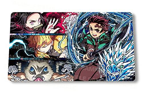 Playmat Anime Game Mouse pad『Demon Slayer Tanjirou Zenitsu』Large Gaming Mousepad Desk Mat TCG Anime Goods 27.5x15.5 Inch