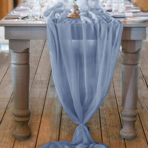 Socomi 10ft Dusty Blue Chiffon Table Runner 29x120 Inches Romantic Wedding Runner Sheer Bridal Party Decorations