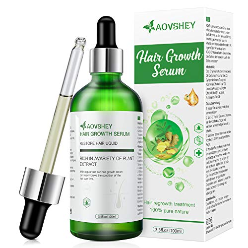 AOVSHEY Hair Growth Serum 100ml Ginger Hair Growth Treatment Oil for Women Men, Stops Hair Loss, Thinning, Balding, Repairs Hair Follicles, Promotes Thicker
