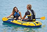 Intex Challenger 2 Inflatable 2 Person Boat Raft Set w/Oars & Air Pump (2 Pack)