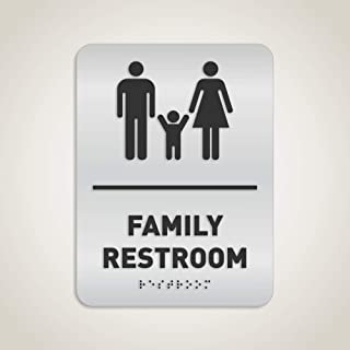 Family Restroom Identification Sign - ADA Compliant Bathroom Sign, Raised Icons, Raised Braille, Brushed Aluminum, TCO Inspection Certified - by GDS Architectural Signage