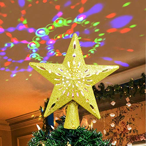 AerWo Christmas Tree Topper Lighted Star Tree Topper with Rotating Magic Rainbow Projector Lights, 3D Glitter Hollow Gold Star Tree Topper for Christmas Tree Decorations