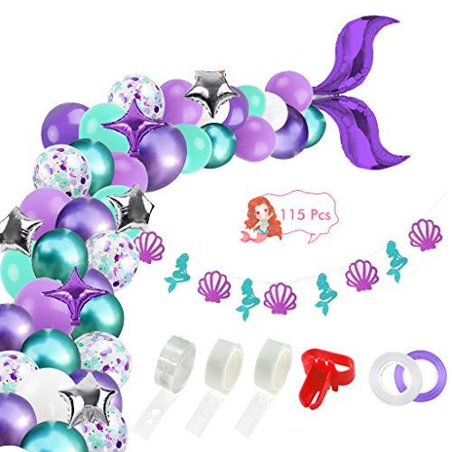 Xinqin - Conjunto de 115 piezas de arco, cola de sirena, globos con globo de aluminio, estrella, pancartas para la decoración de fiesta de cumpleaños, bodas, Navidad, despedidas de soltera