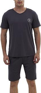 Zhhlinyuan 良質 2 Piece Classic Set Nightwear Sleepwear メンズ Short Sleeve Casual Pyjama