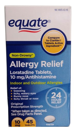 Equate Non-Drowsy 24-Hour Allergy Relief, Loratadine 10mg, 45ct