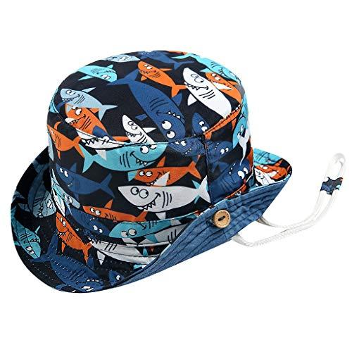 EuCoo Requin Chapeau de Soleil Anti-UV Bonnet Mixte en Coton Bébé Enfant Garçon Bob de Plage Réglable à Corton pour Printemps Eté(Bleu 50)