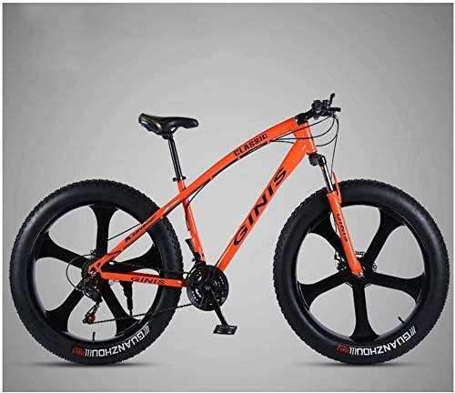 YZ-YUAN Vélo de Montagne de 26 Pouces, Cadre en Acier à Haute teneur en Carbone Gros Pneu vélo de Montagne, vélo de Montagne pour Hommes avec Double Frein à Disque,