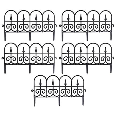PAHE 5 Stück Garden Fence Garden Border Decorative Fence - Beetzaun aus wetterfestem Kunststoff, schöner Dekozaun, Zaun Aus Garten Deko Micro-Landschaft Zubehör Fairy Garden Ornament (Schwarz)