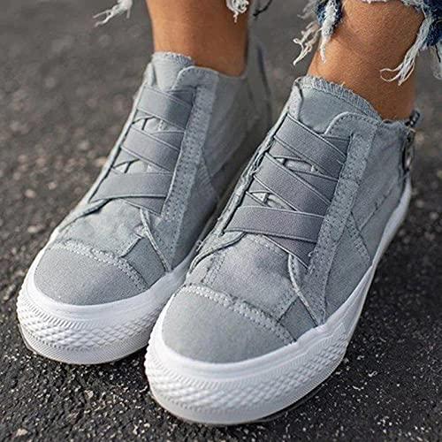 Hwcpadkj Mujer con Plataforma Zapatillas Suela Deportivas Zapatos Planos Mocasines sin Cordones de Lona con Punta Redonda Zapatos Casuales Perezosos,Gris,38