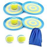 Rhino Valley [4 Pz Set da Gioco Paddle Cattura 4 Paddle e 4 Palline, Catch Ball e Toss Game Set, Giochi di Lancio per Bambini, Giochi di Sport all'Aperta, Giochi da Spiaggia e Giardino - Blu