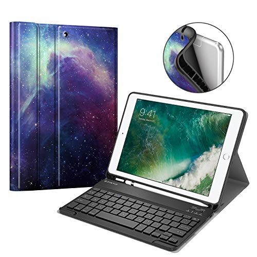 Fintie Keyboard Case for iPad 9.7 2018 with Built-in Pencil Holder, [SlimShell] Soft TPU Back Protective Cover w/Magnetically Detachable Wireless Bluetooth Keyboard for iPad 6th Gen, Galaxy
