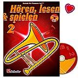 Hören, Lesen, Spielen 2 Posaune in C BC - Schule für Posaune - Lehrbuch mit CD und bunter herzförmiger Notenklammer - Verlag De Haske 9789043109208