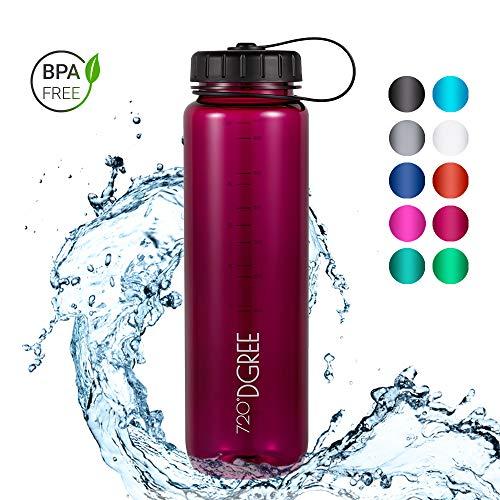 720°DGREE Trinkflasche simplBottle - 1000ml, 1L, Pflaume/Rot | Wasserflasche aus Tritan | Auslaufsichere Flasche mit Weithals für Sport, Schule, Gym, Outdoor | Perfekte Sportflasche - BPA Frei