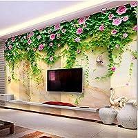 Iusasdz 3D壁紙牧歌的な花白鳥湖大理石写真壁壁画リビングルームダイニングルーム背景壁布-400X280Cm