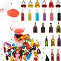 21 Pieces 21 Styles Miniature Wine Bottles with 1 Piece Mini Toilet Cake Topper Dollhouse Cake Accessories Funny Mini Toy Set for Party Celebrating Party, Birthday Party Cake Decorations