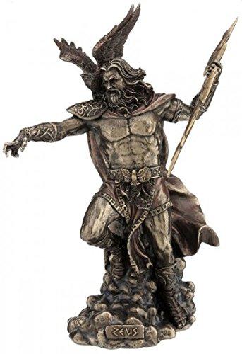 Figur Zeus griechicher Göttervater mit Adler wirft Blitz bronziert Skulptur