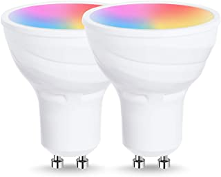 LOHAS GU10 LED Smart Light Bulb, GU10 Base Wifi Spotlight Multicolored LED Bulbs, Dimmable Via APP, 5W LED Home Lighting RGB Color Changing Lights, Remote Voice Control Alexa Bulb, 2Pack